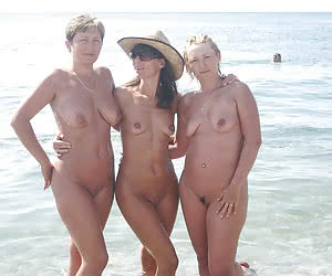 Pretty naked beach trio