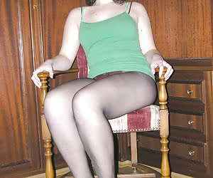 Amateur babes shows off pantyhose legs